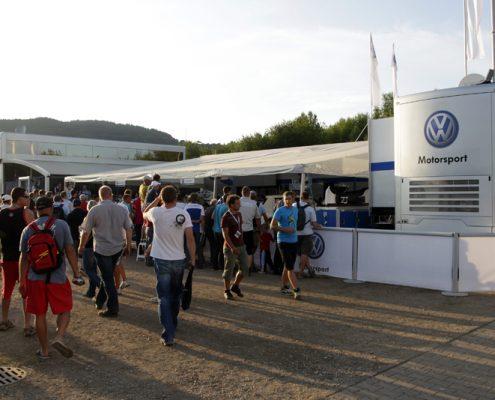 VW Motorsport hospitality outside