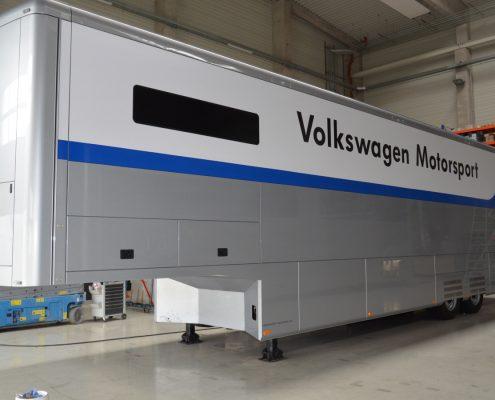 VW Motorsport Racetrailer 2 - Außenansicht